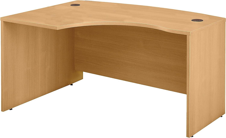 Bush Business Furniture Series C Collection 60W x 43D Left Hand L-Bow Desk Shell in Light Oak