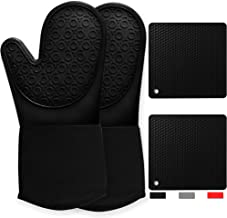 Oven Mitts and Pot Holders Heat Resistant 4 Piece Set Heavy Duty Cooking Gloves Hot Pads for Chiminea Outdoor Fireplace