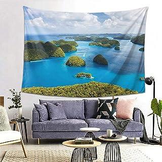 ROSECNY タペストリー インテリア 壁掛け 伝統的な観光の緑の風光明媚な海の上からパラオ諸島の眺め 壁飾り 家 リビングルーム ベッドルーム 部屋 おしゃれ飾り 200x150cm