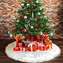 DegGod Snowy White Plush Christmas Tree Skirts, 30 inches Luxury Plush Long Haired Faux Fur Xmas Tree Base Cover Mat for X...