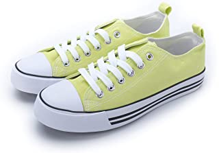 Women's Sneakers Casual Canvas Shoes, Low Top Lace up Cap Toe Flats (Order One Size Up) Green Size: 8