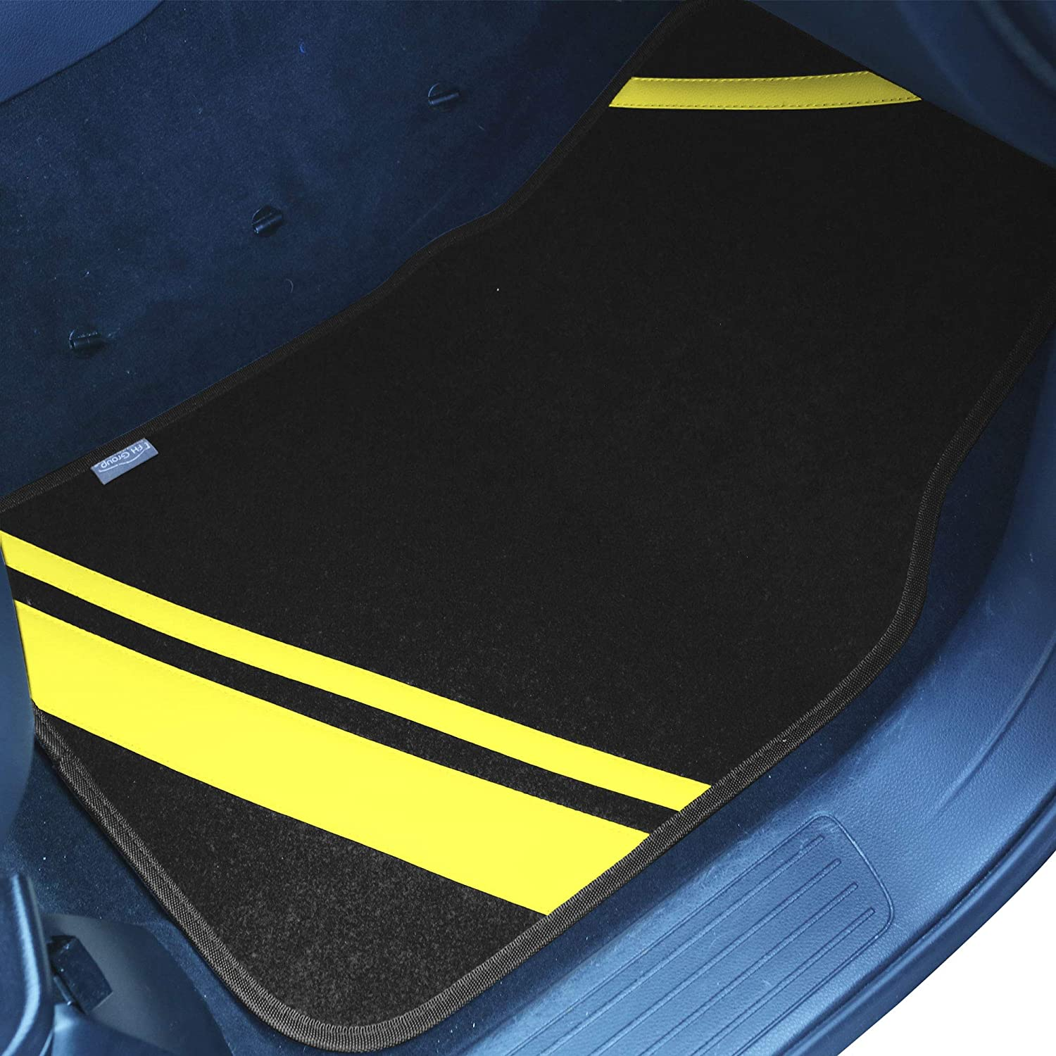 FH Group F14501BLACK Universal Fit Carpet Floor Mats Full Set with Faux Leather for Cars, Coupes, Small SUVs