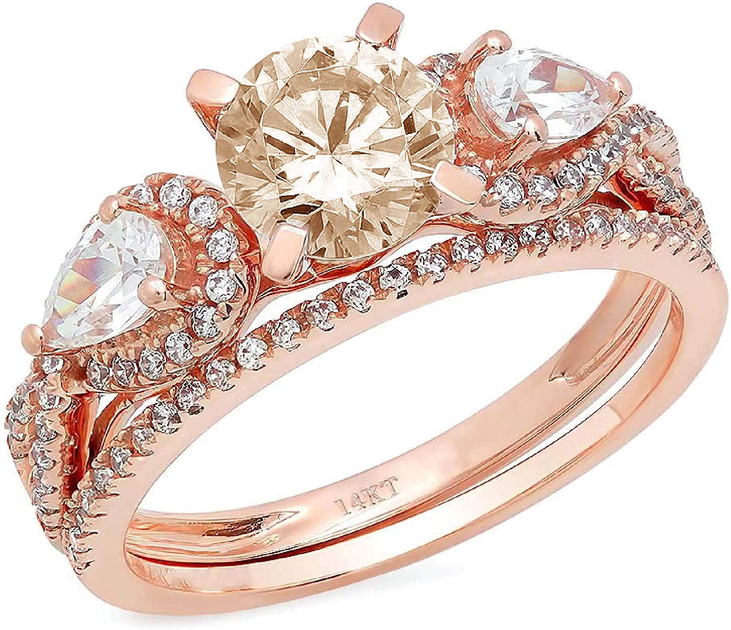 1.97ct Round Pear Cut Solitaire 3 stone With Accent Brown Champagne Simulated Diamond Designer Statement Classic Ring Band Set Real Solid 14k Rose Gold