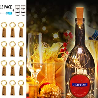 Flow.month Wine Bottle Lights with Cork 12 Pack 20LED 36 Built-in+6 Backup Batterie,Battery Operated Fairy Lights Mini Copper Wire Cork Lights for DIY Party Christmas,Decor,Wedding(Warm White)