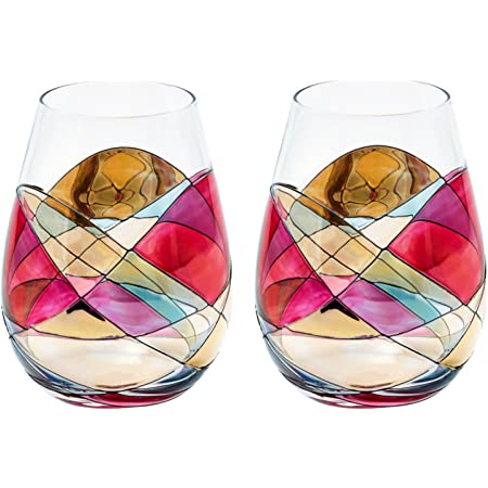 Very Unique One of a Kind Hand Painted Ceramic Wine Glass Sets