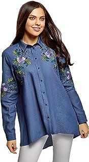 oodji Ultra Women's Denim Shirt with Embroidery