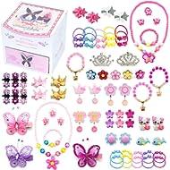 Elesa Miracle Little Girl Kids Wood Jewelry Box and 75 Pieces Girl Princess Jewelry Dress Up...
