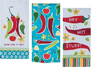 3 Mexican Food Themed Decorative Cotton Kitchen Towel Set | 2 Tea and 1 Terry Towels with Red and Green Chilli Pepper Print for Dish and Hand Drying | by Kay Dee Designs