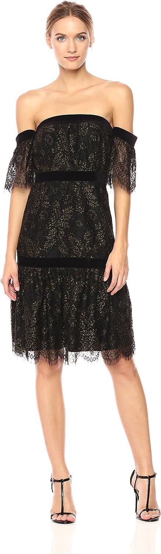 Nanette Nanette Lepore Womens Short Sleeve Off Shoulder Lace Dress W Velvet Trim Dress