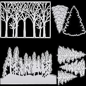 4 Pieces Tree Dies Pine Tree Cutting Dies for Card Making Metal Tree Die Cut Stencils Background Scrapbook Embossing Album Stamps Paper Card Festival Decor
