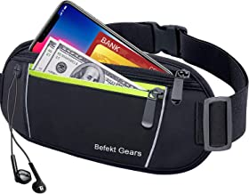 Befekt Gears Riñonera Deportiva, Riñonera Running Mujer Hombre Impermeable con Bandas Reflectantes Agujero del Auricular Ideal para 6,5 Pulgadas de móvil iPhone XS MAX/X, Xiaomi, Huawei etc.