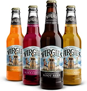Virgil's All Natural Handcrafted Soda Assorted Pack (Root Beer, Cherry Cream, Orange Cream, Soda Cream) - 12 Fl Oz | Total 12 Pack