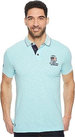 Short Sleeve Classic Fit Solid Slub Polo Shirt