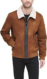 DKNY mens Faux Shearling Bomber Jacket with Faux Fur Collar Faux Fur Coat