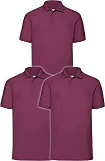 Fruit of the Loom Men's 63-402-0 Polo Shirt, Burgundy, 3XL (Pack of 3)