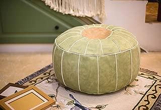 RISEON Boho Handmade Faux PU Leather Moroccan Pouf Footstool Ottoman Leather Poufs Unstuffed 23