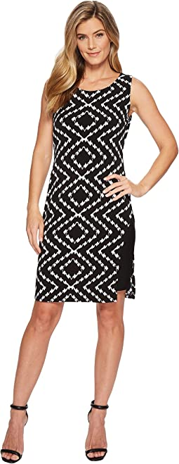 Pack and Go Travel Jersey Printed Sleeveless Dress with Inside Contrast Slip