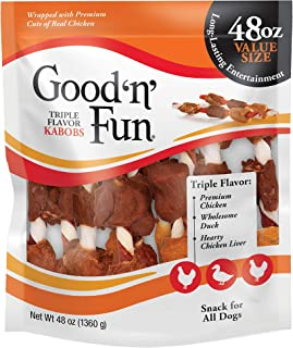 Good 'n' Fun Triple Flavor Kabobs 48 Ounce, Rawhide Snack for All Dogs