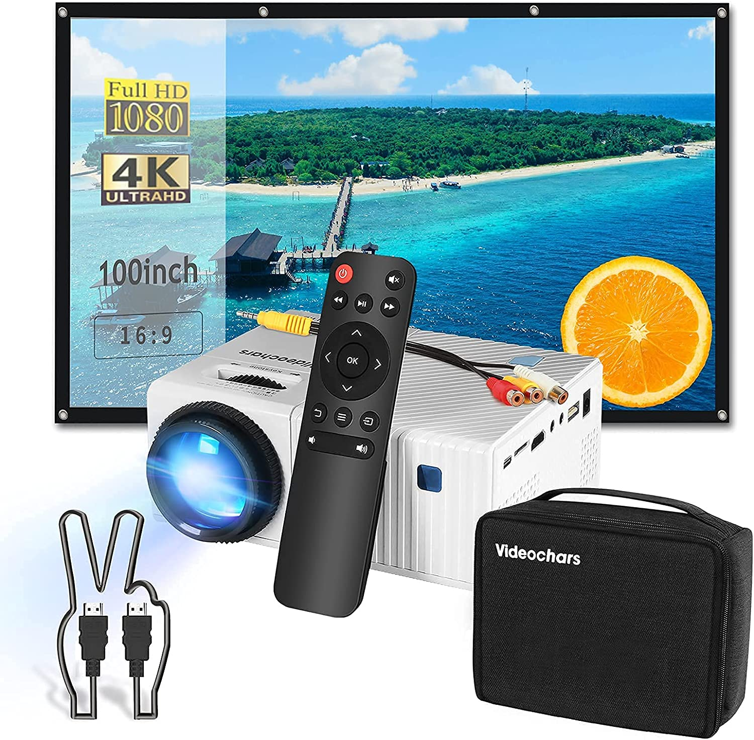 5 in 1 Home Theater Set, Compact Size Native 1080P Projector with 100inch Projector Screen + Portable Bag + HDMI Cable