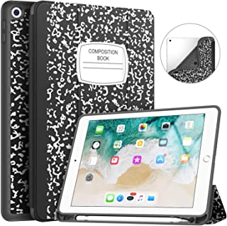 Soke iPad 9.7 2018/2017 Case with Pencil Holder, Slim Fit Smart Case Trifold Stand with Shockproof Soft TPU Back Cover and Auto Sleep/Wake Function for iPad 9.7 inch 5th/6th Generation, Book Black