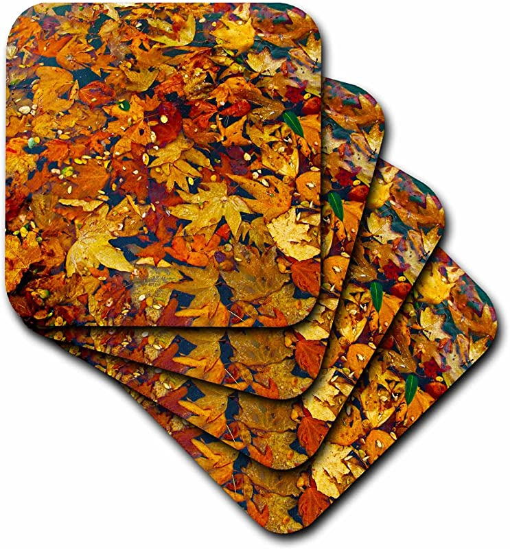 3dRose Cst 50137 2 Rustic Fall Leaves Soft Coasters Set Of 8