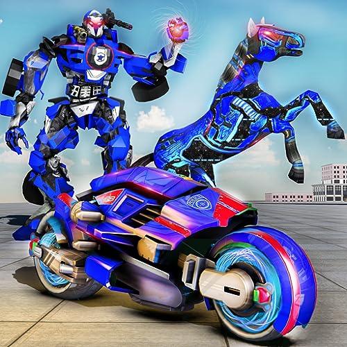 US-Roboter Polizei Fahrrad Pferd Roboter Transformation