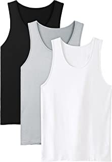 Men's Bamboo Rayon & Cotton Undershirts Crew Neck Tank Tops in 3 or 4 Pack