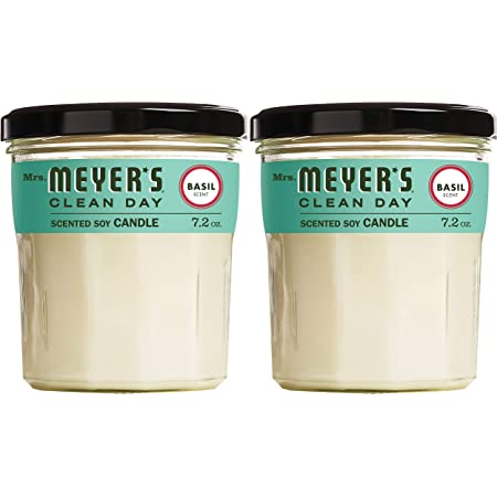 Mrs. Meyer's Clean Day Scented Soy Aromatherapy Candle, 35 Hour Burn Time, Made with Soy Wax and Essential Oils, Basil, 7.2 oz- Pack of 2