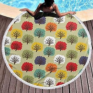バスタオル Colorful trees 丸いビーチタオル ラウンドビーチタオル 厚手 大判 スーパーソフト 100%マイクロファイバー テリー生地 Round beach towel 59 in 円形大マイクロファイバーテリービーチ丸い