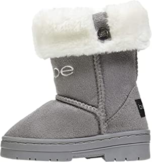 bebe Toddler Girls Microsuede Winter Boots with Faux Fur Cuffs Comfort Slip-On Shoes