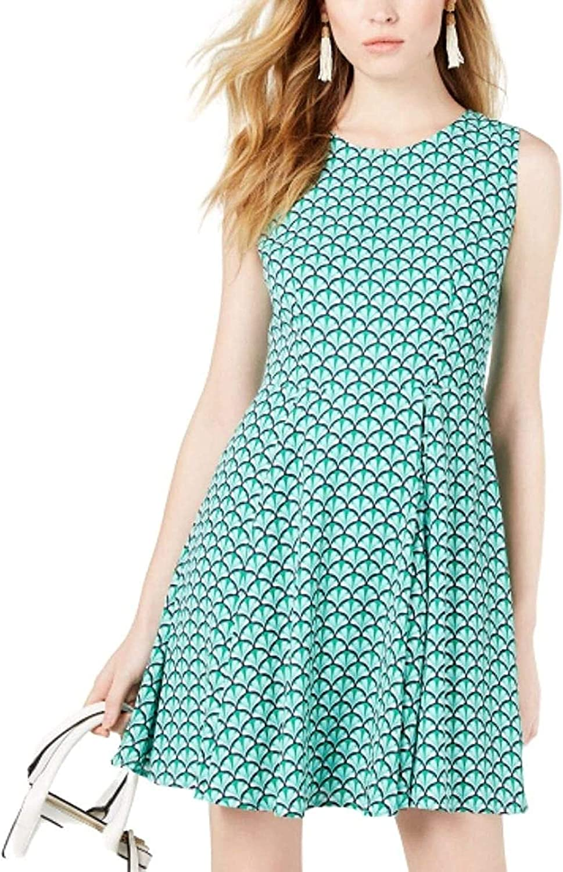 Maison Jules Border-Print Fit & Flare Dress, Feminine Fan Green, 0