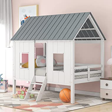 SOFTSEA Twin House Bed, Low Loft Bed Playhouse Bed Frame with Two Front Windows and Roof for Kids Toddlers Teen, No Box Sprin