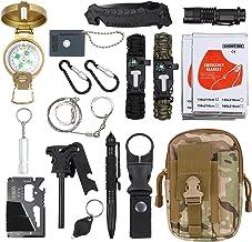 18 en 1 Kit de Supervivencia Bolsa Molle de Supervivencia Bolsa de Herramientas Multifuncional con Manta de Emergencia Equipo de Supervivencia de Emergencia para Viajar Caminar Acampar al Aire