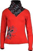 TATTOPANI Women's Long Sleeve Tops High Neck Design Floral Pattern T-Shirt