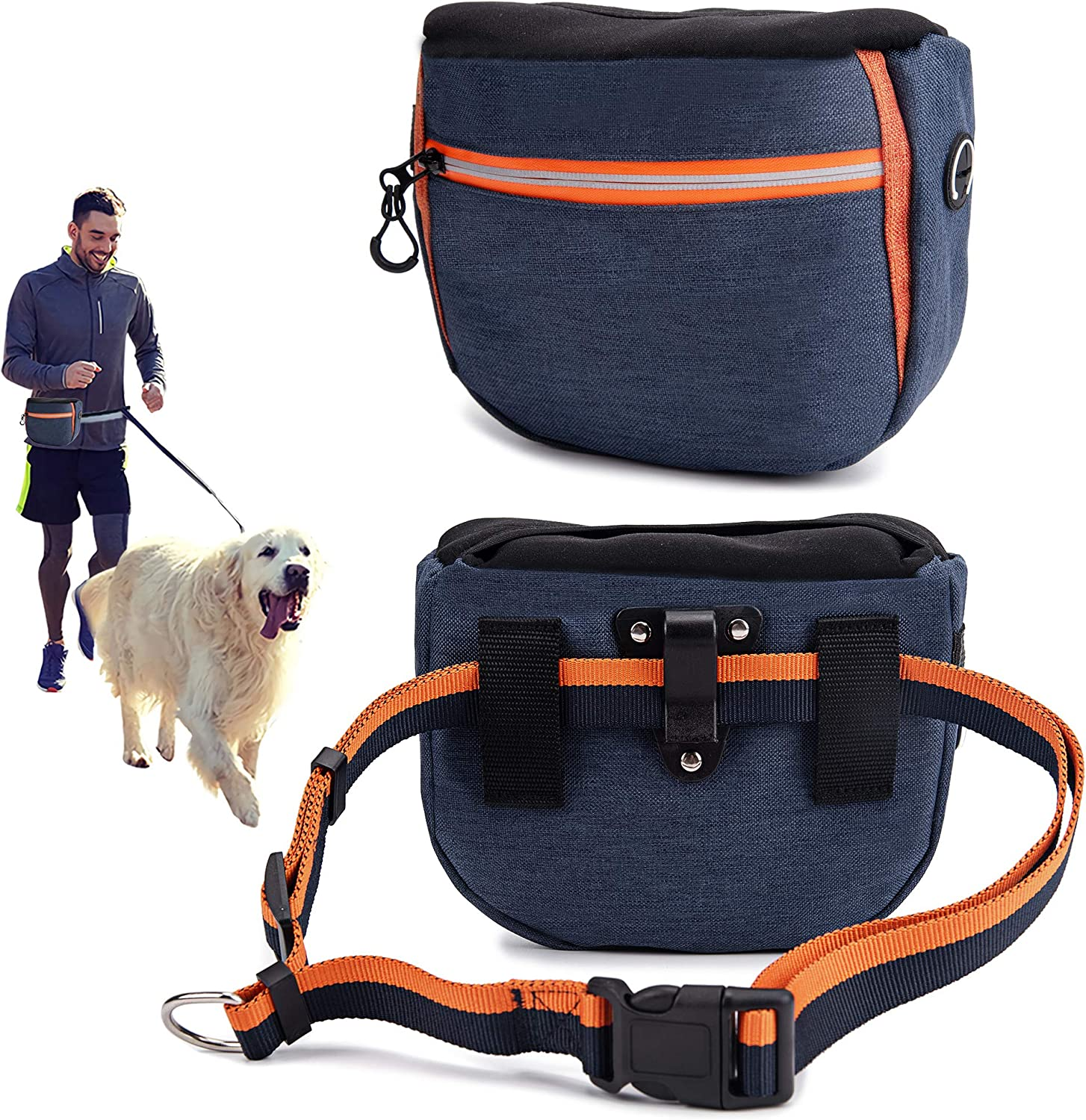 risdoada Dog Treat Pouch for Training, 4 Ways to Wear Auto Closing Portable Dogs Walking Bag with Adjustable Belt, Oxford Cloth Pet Food Container with Poop Bags Dispenser