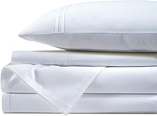 AURAVE Premium 400-Thread Count 4 Piece Cotton Sateen Bedsheet Set, White King Size