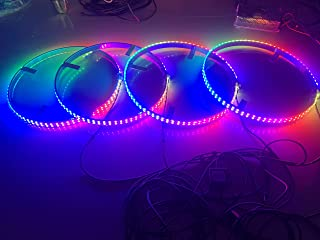Sando Tech Dream Chasing Color Flow 15.5'' IP68 Waterproof Double Row 300Leds Brightest Strobe Led Wheel Ring Lights Rim Lights Car Tire Lights Blue-Tooth APP Control Multi-Colors - 4 Lights