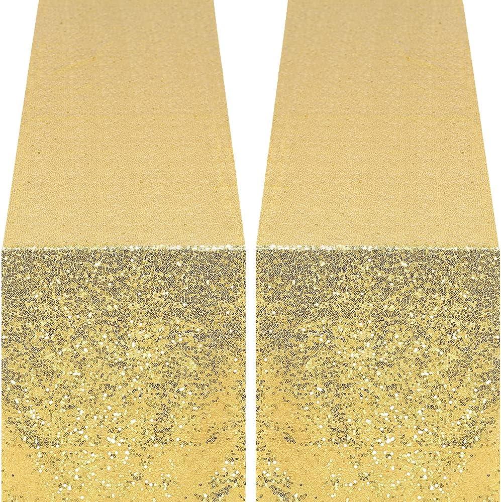 GFCC Gold Gorgeous Sequin Ranking TOP13 Table Runners 12x108inch 2PCS Runn -