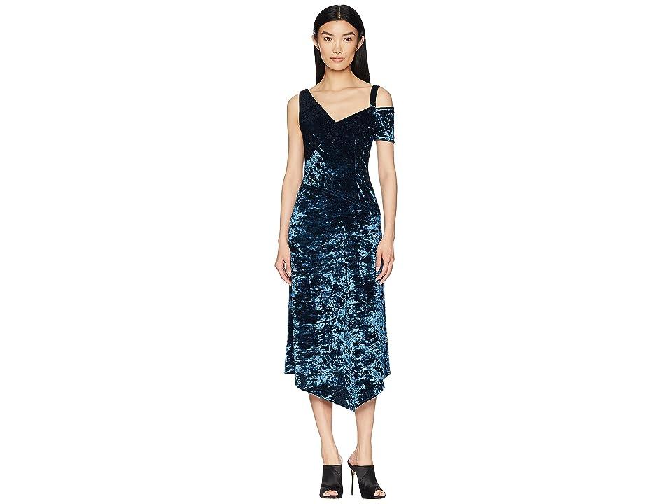 YIGAL AZROUEL Crushed Velvet Jersey Dress (Teal Blue) Women