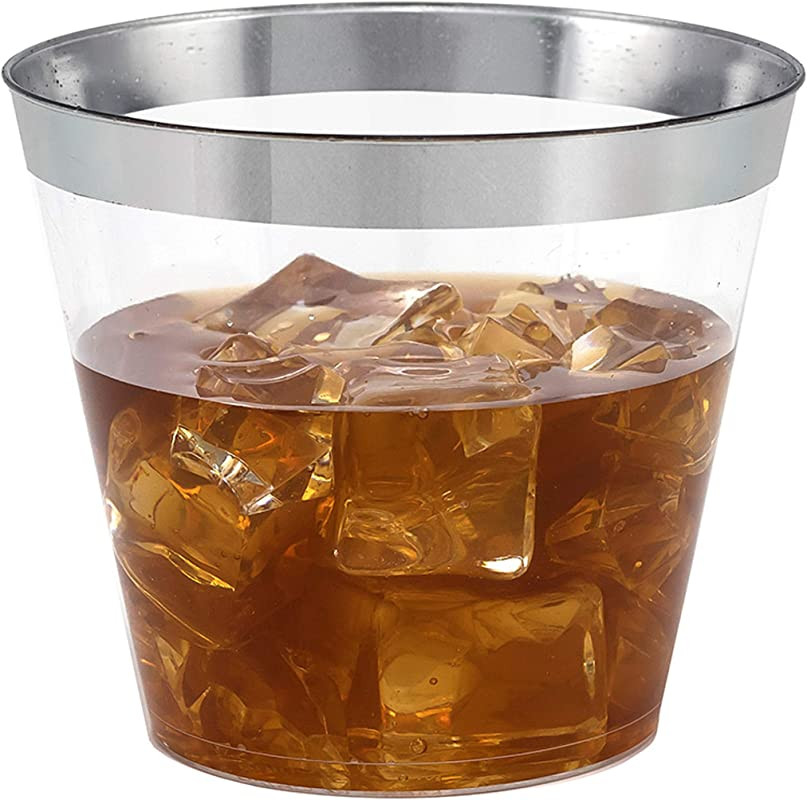 100 Silver Rimmed Clear Hard Plastic Cups 9 Oz Fancy Disposable Tumblers 100 Pack By Bloomingoods