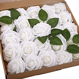 BOMAROLAN Artificial Rose Flowers Real Touch 25pcs Faux Foam Roses Fake Flower Head w/Stem, DIY Wedding Decor Bridal Bridesmaid Bouquets Centerpieces Baby Shower Party Home Decorations (White)