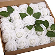 BOMAROLAN Artificial Rose Flowers Real Touch 25pcs Faux Foam Roses Fake Flower Head..
