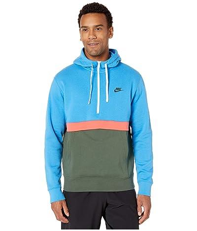 Nike NSW Club Hoodie 1/2 Zip (Light Photo Blue/Galactic Jade/White/White) Men
