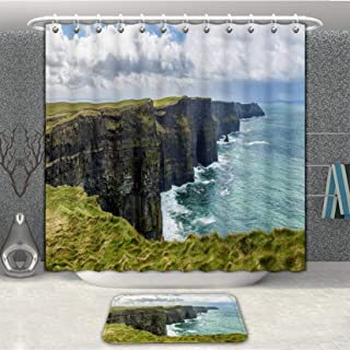 Minicoso 3D Digital Printing Shower Curtain with Floor Mat, Cliffs of Moher Along Ireland Coast, Fabric Bath Curtain with 12 Hooks and Meltal Rings 72