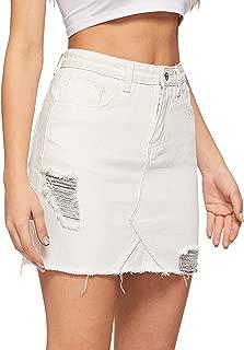 WDIRARA Women's Casual Plain Mid Waist Above Knee Pocket Button Short Skirt