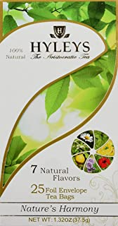 Hyleys Nature's Harmony Collection Assorted Tea With 7 Natural Tastes - 25 Foil Envelope Tea Bags (Gmo Free, Gluten Free, ...