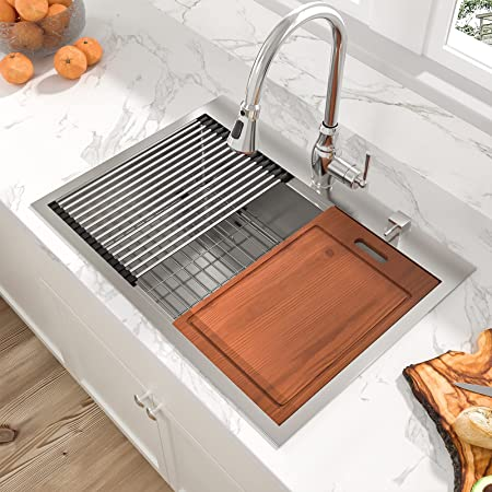 Drop Stainless Kitchen Sink - Sarlai 33 Inch Kitchen Sink Workstation Sink Drop In Topmount 16 Gauge Stainless Steel Round Corner Single Bowl Kitchen Sink Basin