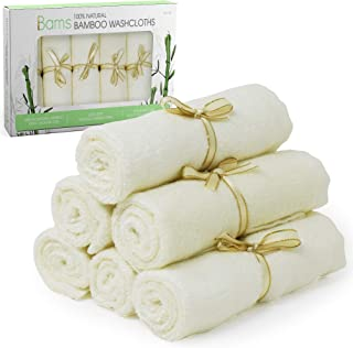 BAMS Luxury 100% Bamboo Baby Washcloths - 2X Thicker Extra Soft Face Wash Cloth Wipes Towels for Babies, Newborn, Infant, Adults with Sensitive Skin, Free Laundry Bag Included