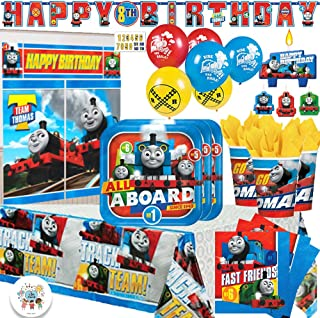 Thomas The Train Birthday MEGA Party Supply Pack for 16 with Plates, Napkins, Cups, Tablecover, 6 Balloons, Wall Decorating Kit, Happy Birthday Banner, Exclusive Button and Candles by Another Dream!