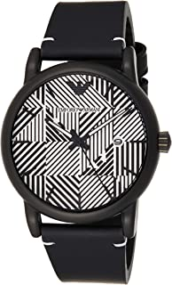 Emporio Armani Men's Quartz Stainless Steel and Leather Casual Watch, Black (Ar11136), Analog Display